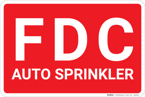 FDC Auto Sprinkler Red Landscape - Wall Sign