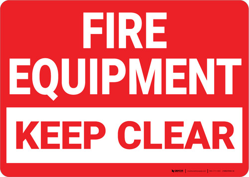 Fire Equipment Keep Clear Landscape - Wall Sign