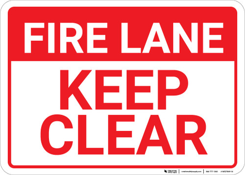 Fire Lane Keep Clear Landscape - Wall Sign