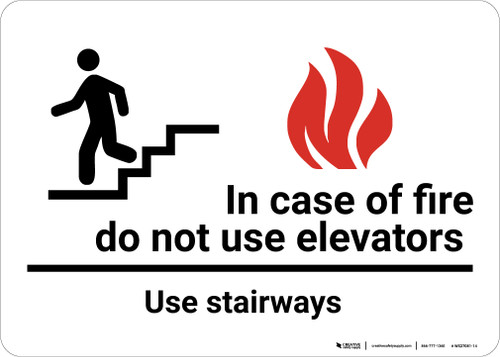 In Case Of Fire Do Not Use Elevators Use Stairways with Icons Landscape - Wall Sign