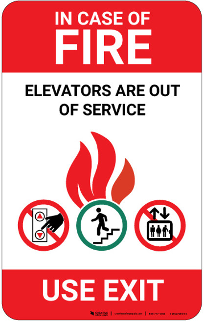 In Case Of Fire Elevators Out Of Service with Icons Portrait - Wall Sign