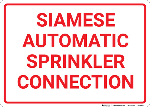 Siamese Automatic Sprinkler Connection White Landscape - Wall Sign