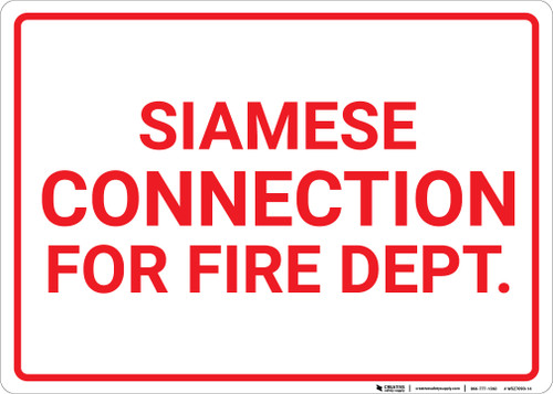 Siamese Connection For Fire Dept with Border Landscape - Wall Sign