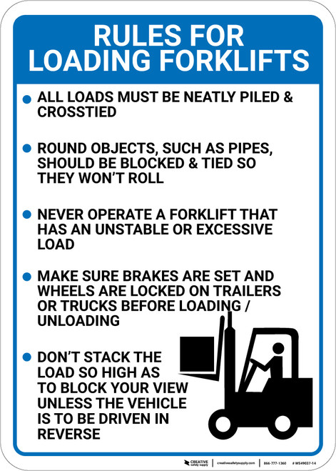 Rules For Forklift Loading: Five Rules Forklift Driver Icon Portrait - Wall Sign