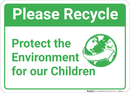 Please Recycle: Protect Environment Children World Arrow Icon Landscape - Wall Sign
