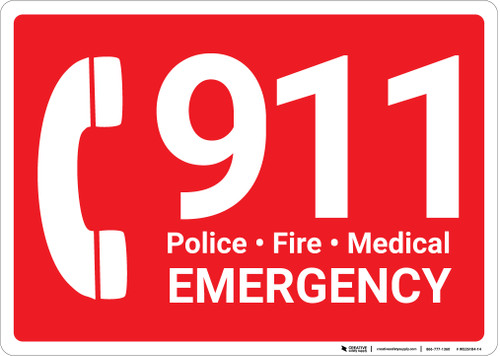 911 Police Fire Medical Emergency with Icon Landscape - Wall Sign