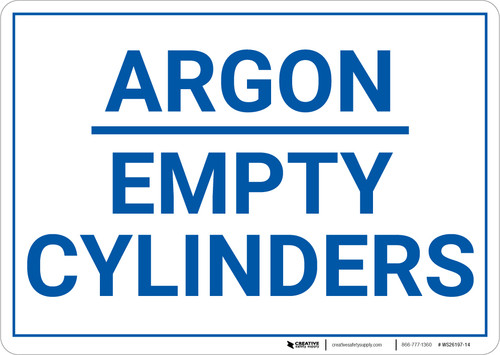 Argon Empty Cylinders Landscape - Wall Sign