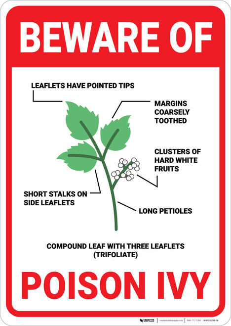 Beware Of Poison Ivy with Icon Portrait - Wall Sign