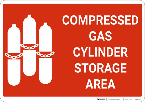 Compressed Gas Cylinder Storage Area with Icon Landscape - Wall Sign
