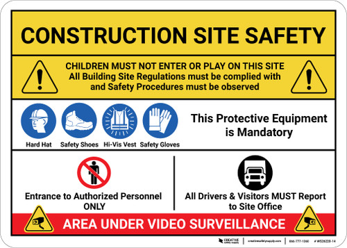 Construction Safety Area Under Surveillance with Icons Landscape - Wall Sign