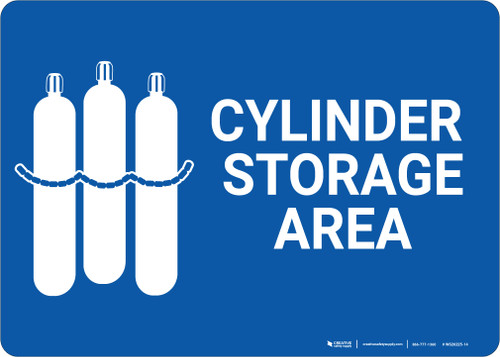 Cylinder Storage Area with Icon Landscape - Wall Sign