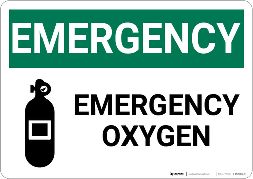 Emergency Emergency Oxygen with Icon Landscape - Wall Sign