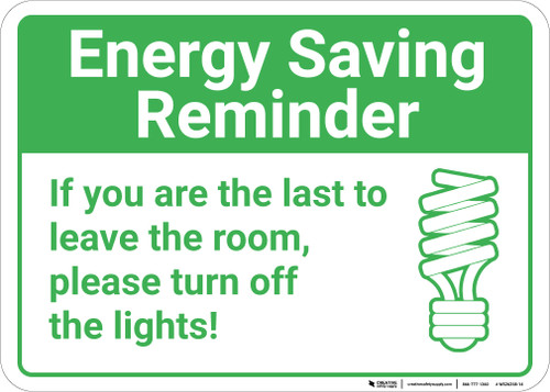 Energy Saving Reminder Turn Off Lights with Icon Landscape - Wall Sign