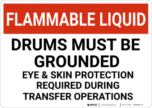 Flammable Liquid Drums Must Be Grounded Landscape - Wall Sign
