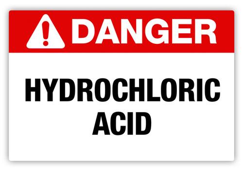 Danger - Hydrochloric Acid Label