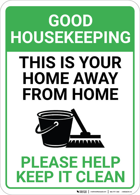 Good Housekeeping Please Help Keep It Clean with Icon Portrait - Wall Sign