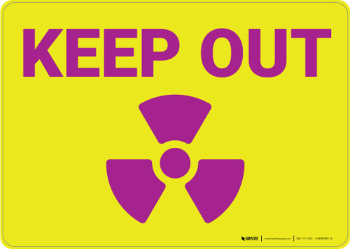 Keep Out with Radiation Icon Landscape - Wall Sign