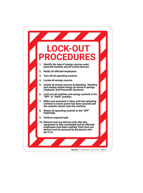 Lock Out Procedures with Hazard Border Portrait - Wall Sign