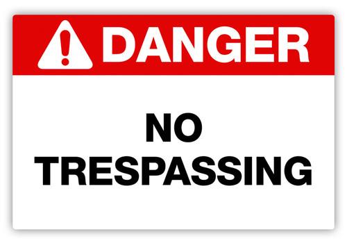 Danger - No Trespassing Label
