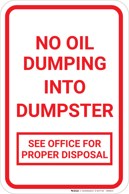 No Oil Dumping Portrait - Wall Sign