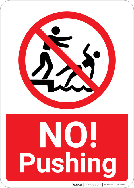 No Pushing with Icon Portrait.eps - Wall Sign