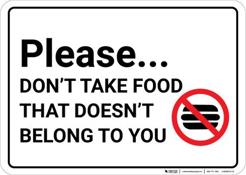 Please Dont Take Food with Icon Landscape.eps - Wall Sign