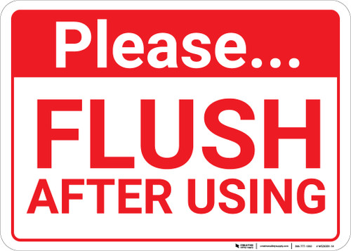 Please Flush After Using Landscape - Wall Sign