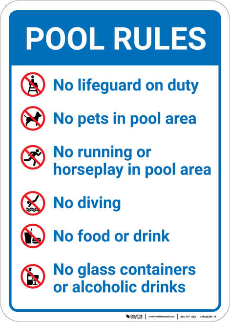 Pool Rules with Icons Portrait - Wall Sign