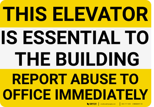 Report Elevator Abuse to Office Landscape - Wall Sign