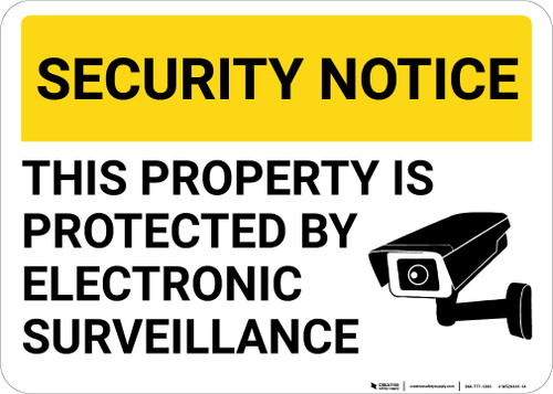 Security Notice This Property Protected By Surveillance with Icon Landscape - Wall Sign