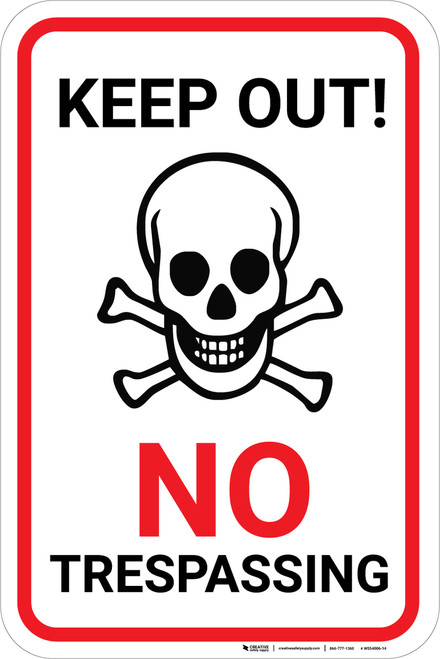 Keep Out No Trespassing with Icon Portrait - Wall Sign