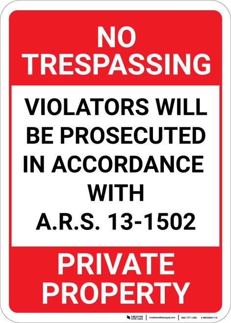 No Trespassing Private Property Arizona Portrait - Wall Sign