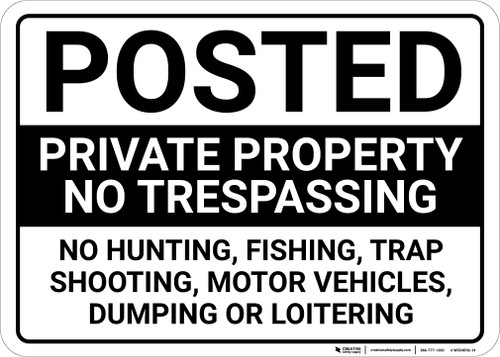 Posted Private Property No Trespassing Landscape - Wall Sign