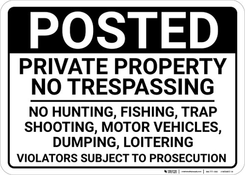 Posted Private Property No Trespassing Violators Subject To Prosecution Landscape - Wall Sign