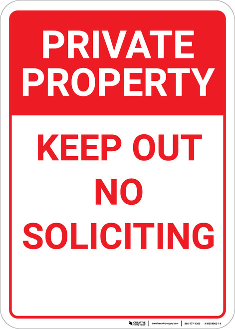 Private Property Keep Out No Soliciting Red Portrait - Wall Sign