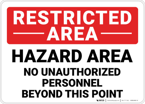Restricted Area No Unauthorized Personnel Landscape - Wall Sign