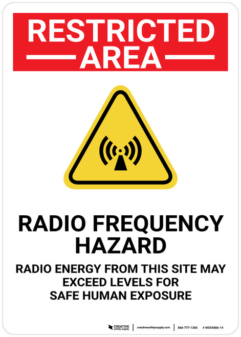 Restricted Area Radio Frequency Hazard with Icon Portrait - Wall Sign