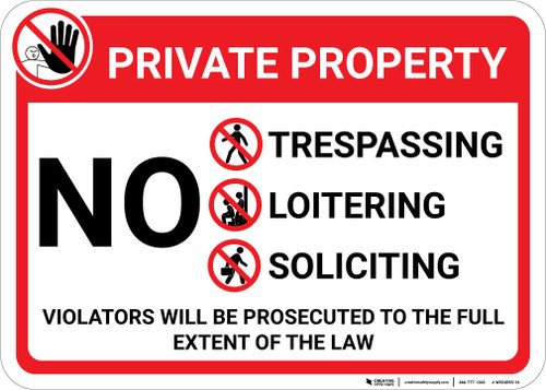 Private Property: No Trespassing Loitering Dumping with Icons Violators Prosecuted Landscape - Wall Sign