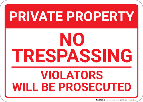 Private Property: No Trespassing Violators Prosecuted Footer Portrait - Wall Sign