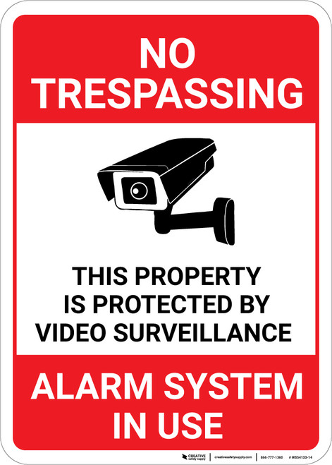 No Trespassing: This Property Is Protected By Video Surveillance Alarm In Use Video Camera Icon Portrait - Wall Sign