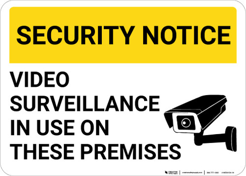 Security Notice: Video Surveillance In Use On These Premises Video Camera Icon Landscape - Wall Sign