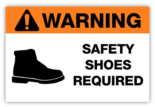 Warning - Safety Shoes Required Label