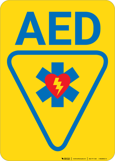 AED with Icon and Arrow Portrait - Wall Sign