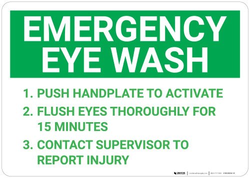 Emergency Eye Wash Instructions Landscape - Wall Sign