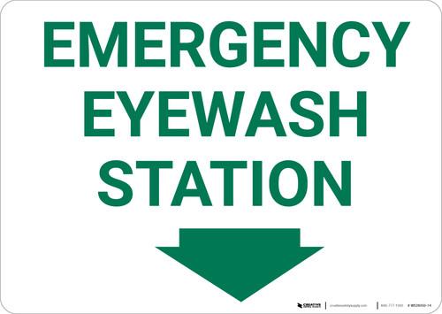 Emergency Eyewash Station With Arrow Landscape - Wall Sign