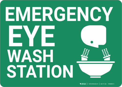 Emergency Eyewash Station with Icon Landscape - Wall Sign