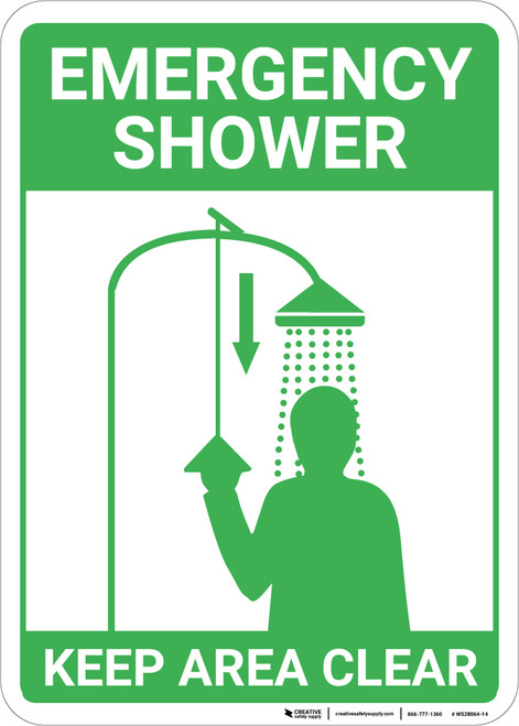 Emergency Shower Keep Area Clear with Icons Portrait - Wall Sign
