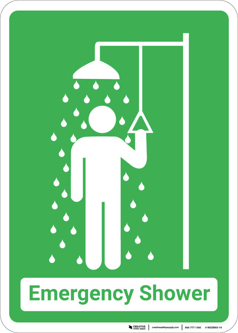 Emergency Shower with Icon Green Portrait - Wall Sign
