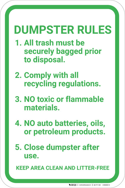 Dumpster Rules Guidelines Portrait - Wall Sign