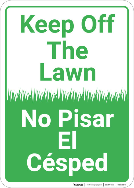 Keep Off The Lawn Bilingual Spanish Portrait - Wall Sign